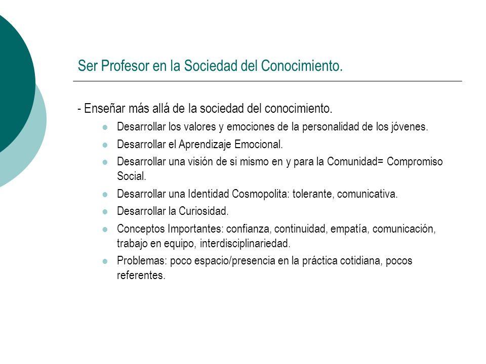 Ser Profesor en la Sociedad del Conocimiento. - Enseñar más allá de la sociedad del conocimiento.