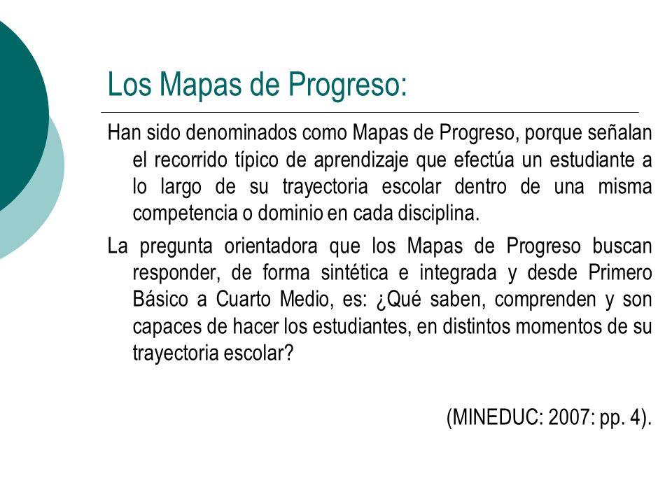 Los Mapas de Progreso: Han sido denominados como Mapas de Progreso, porque señalan el recorrido típico de aprendizaje que efectúa un estudiante a lo l