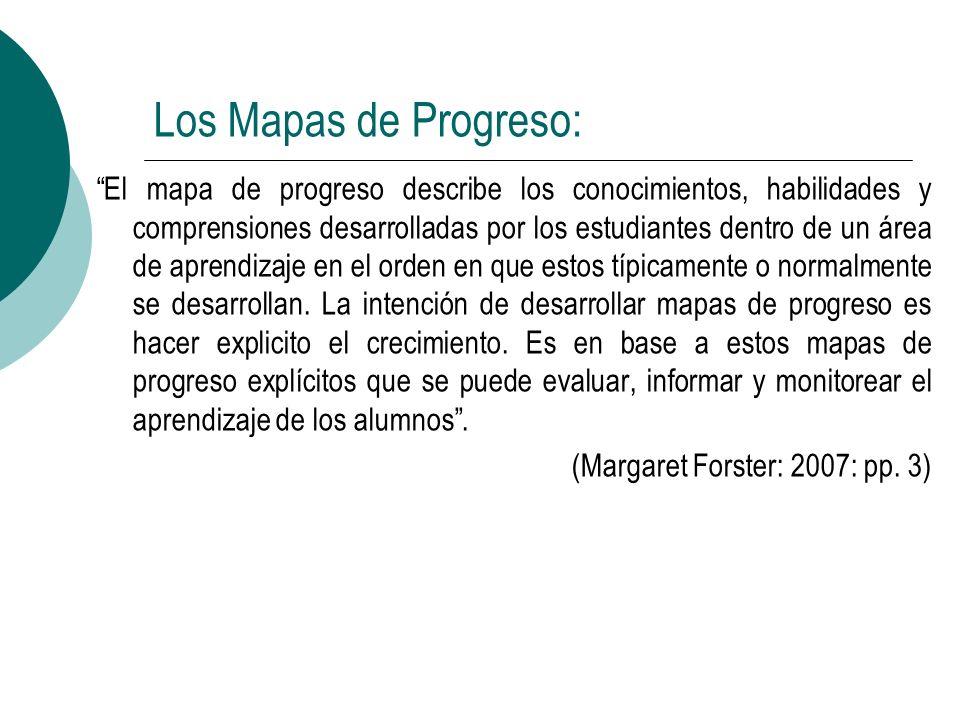 Los Mapas de Progreso: El mapa de progreso describe los conocimientos, habilidades y comprensiones desarrolladas por los estudiantes dentro de un área