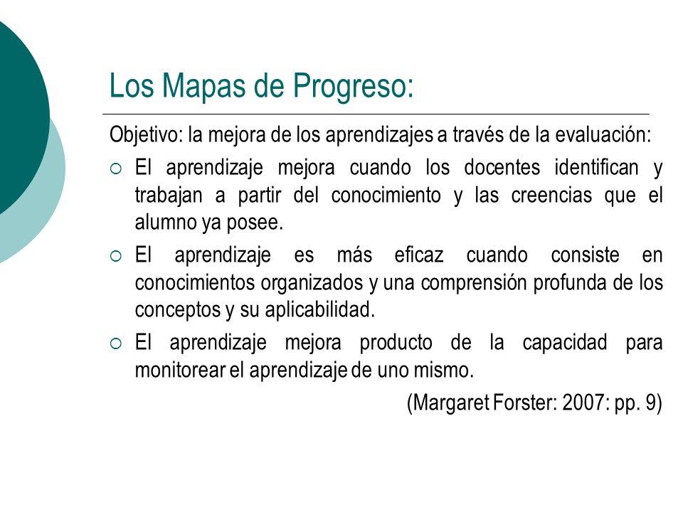 Los Mapas de Progreso: Objetivo: la mejora de los aprendizajes a través de la evaluación: El aprendizaje mejora cuando los docentes identifican y trab