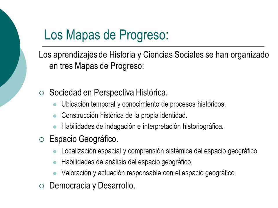 Los Mapas de Progreso: Los aprendizajes de Historia y Ciencias Sociales se han organizado en tres Mapas de Progreso: Sociedad en Perspectiva Histórica