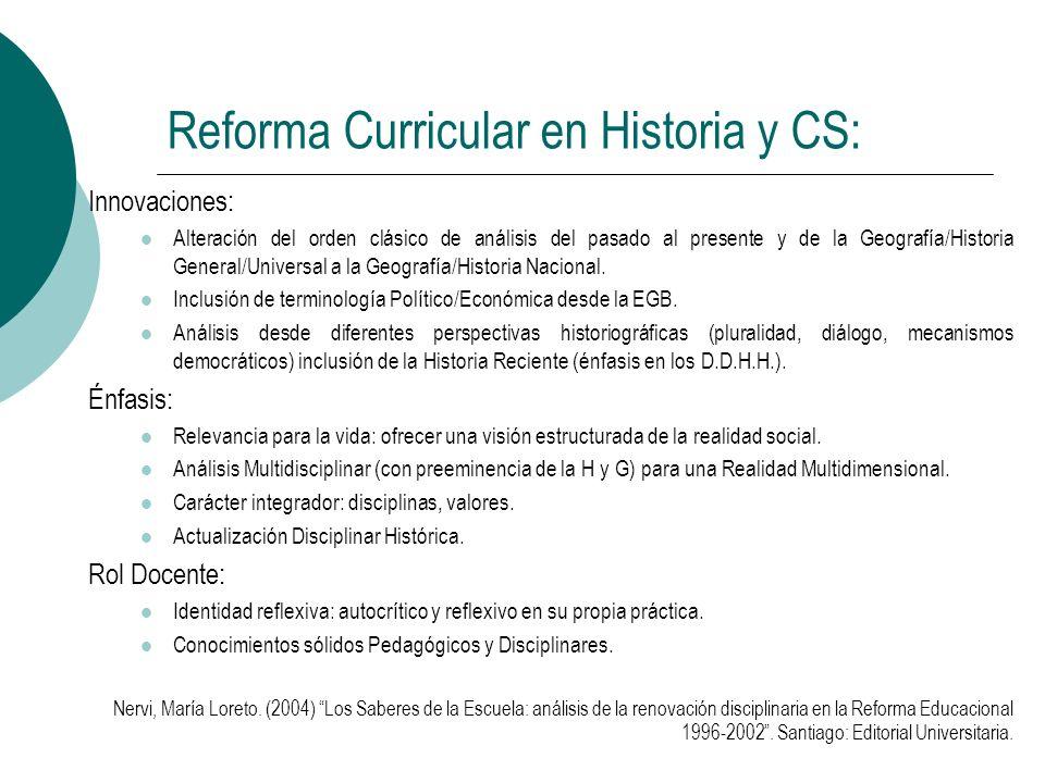 Reforma Curricular en Historia y CS: Innovaciones: Alteración del orden clásico de análisis del pasado al presente y de la Geografía/Historia General/