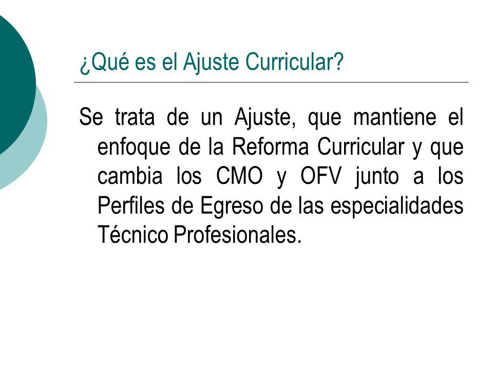 ¿Qué es el Ajuste Curricular? Se trata de un Ajuste, que mantiene el enfoque de la Reforma Curricular y que cambia los CMO y OFV junto a los Perfiles