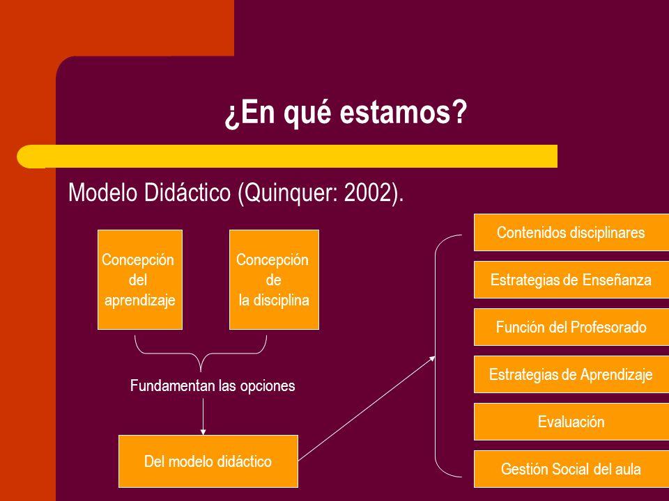 ¿En qué estamos? Modelo Didáctico (Quinquer: 2002). Concepción del aprendizaje Concepción de la disciplina Del modelo didáctico Contenidos disciplinar
