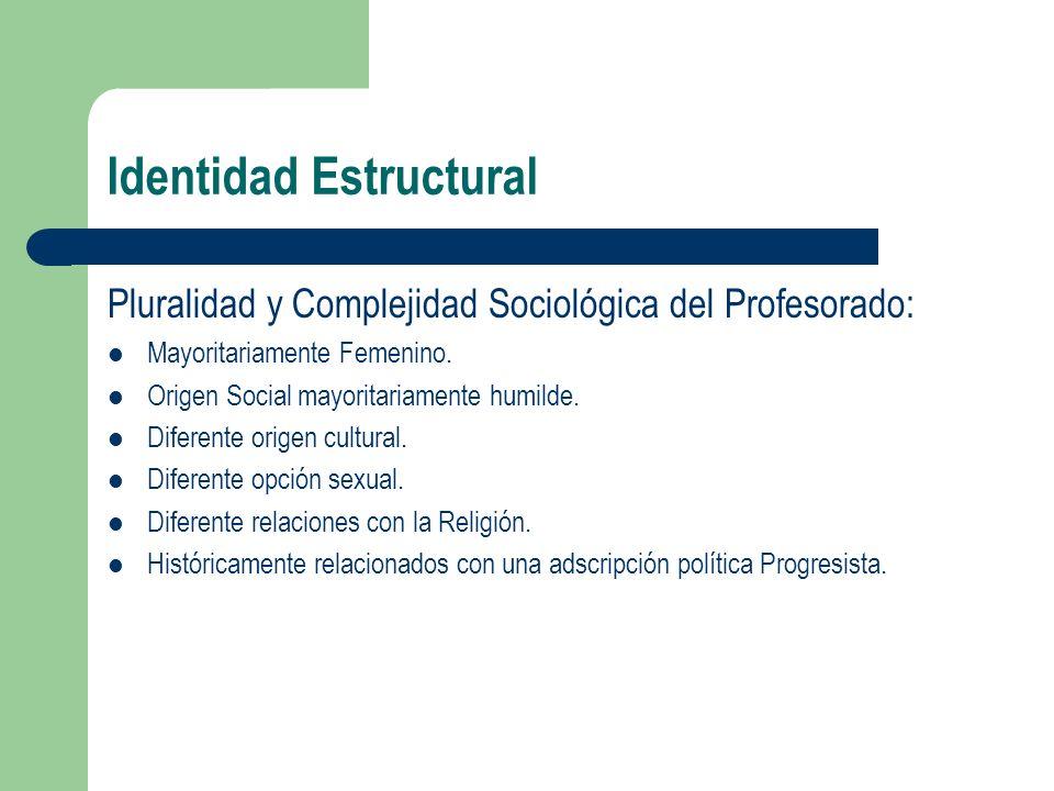 Identidad Estructural Pluralidad y Complejidad Sociológica del Profesorado: Mayoritariamente Femenino. Origen Social mayoritariamente humilde. Diferen