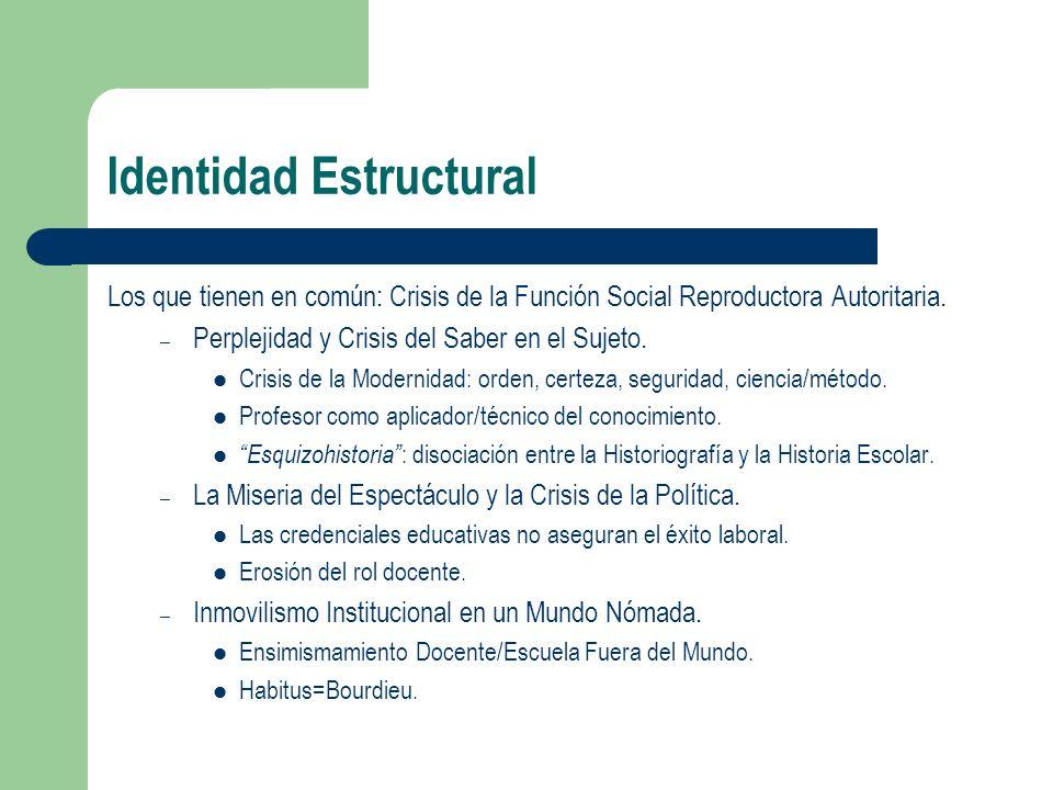 Identidad Estructural Los que tienen en común: Crisis de la Función Social Reproductora Autoritaria. – Perplejidad y Crisis del Saber en el Sujeto. Cr