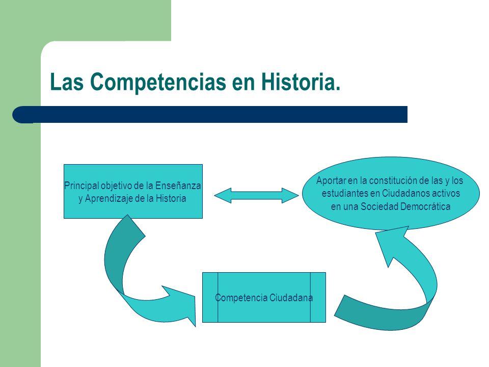 Las Competencias en Historia. Principal objetivo de la Enseñanza y Aprendizaje de la Historia Aportar en la constitución de las y los estudiantes en C