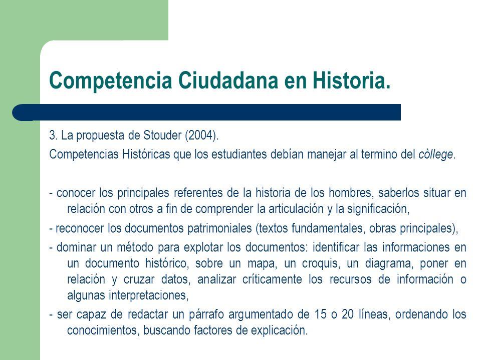 Competencia Ciudadana en Historia. 3. La propuesta de Stouder (2004). Competencias Históricas que los estudiantes debían manejar al termino del còlleg