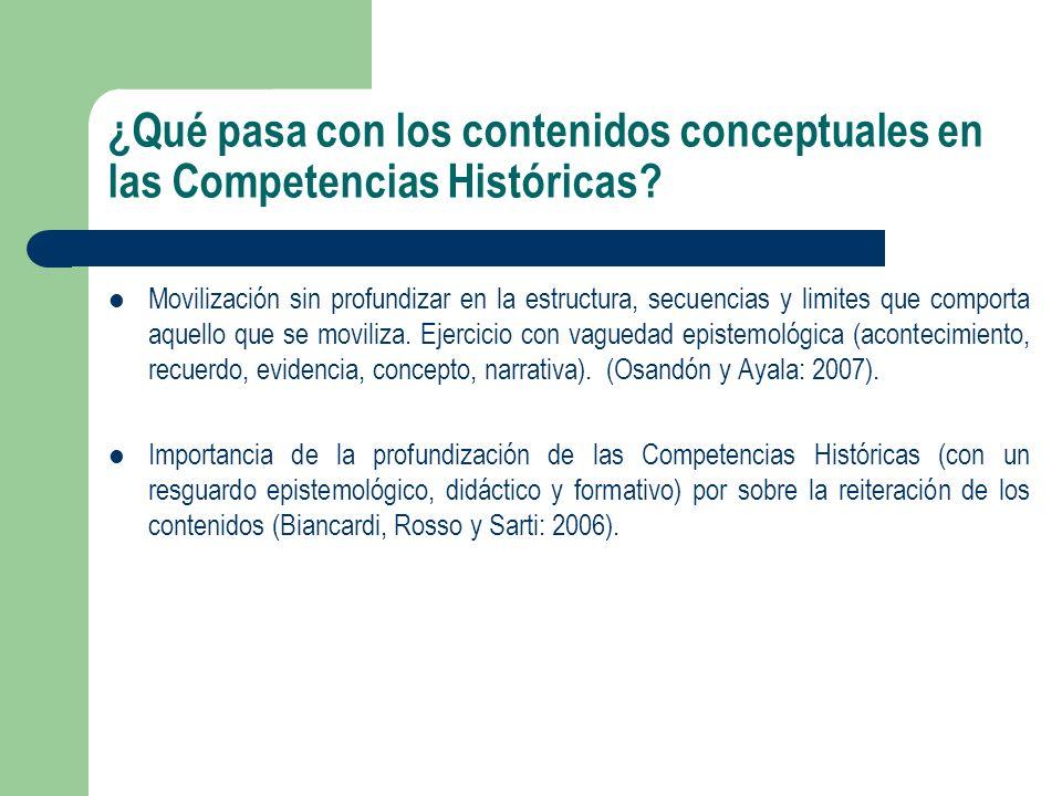 ¿Qué pasa con los contenidos conceptuales en las Competencias Históricas? Movilización sin profundizar en la estructura, secuencias y limites que comp