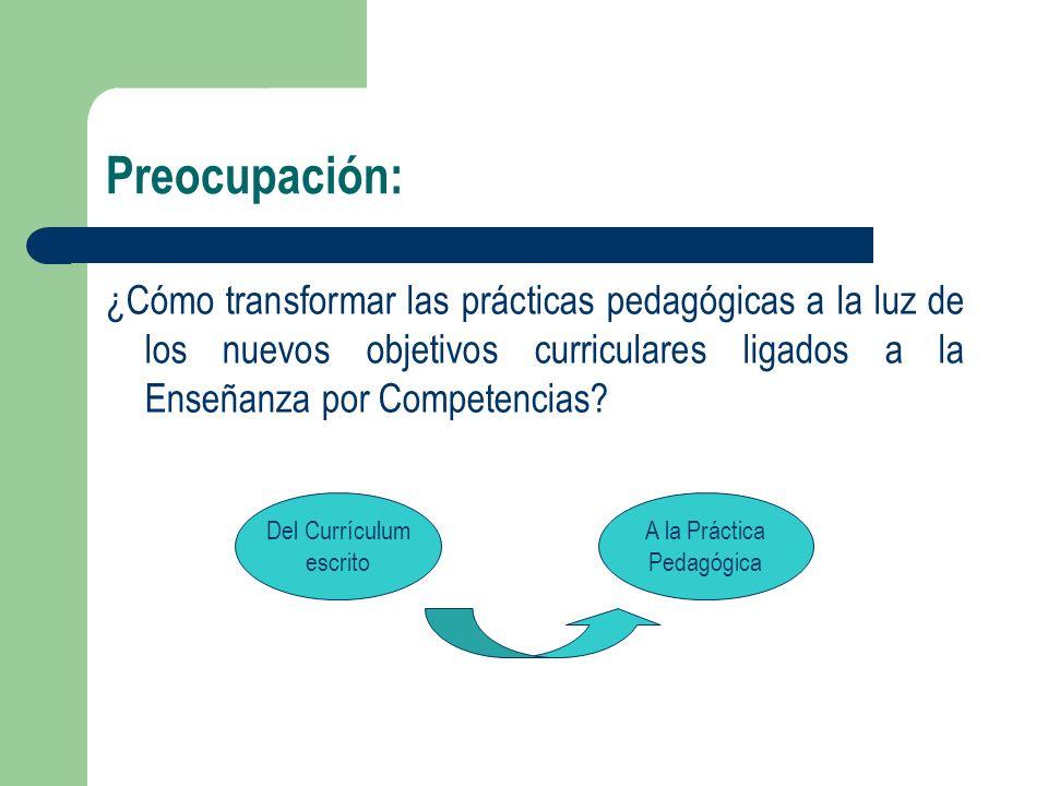 Preocupación: ¿Cómo transformar las prácticas pedagógicas a la luz de los nuevos objetivos curriculares ligados a la Enseñanza por Competencias? Del C