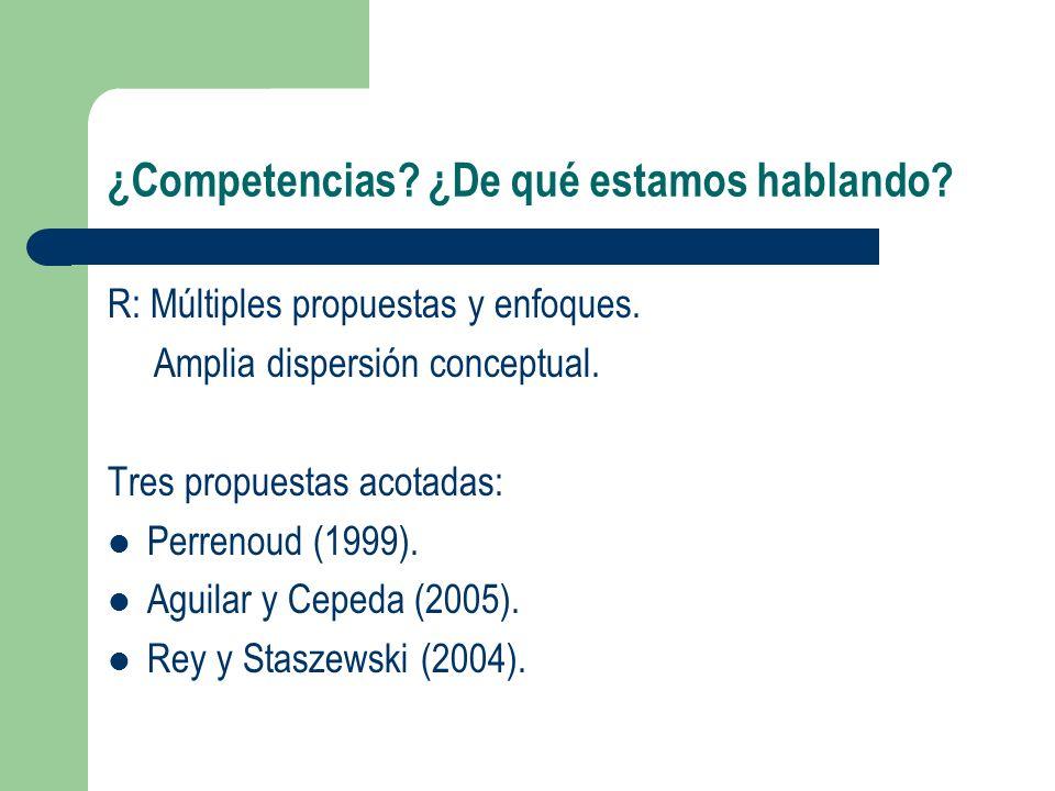 ¿Competencias? ¿De qué estamos hablando? R: Múltiples propuestas y enfoques. Amplia dispersión conceptual. Tres propuestas acotadas: Perrenoud (1999).