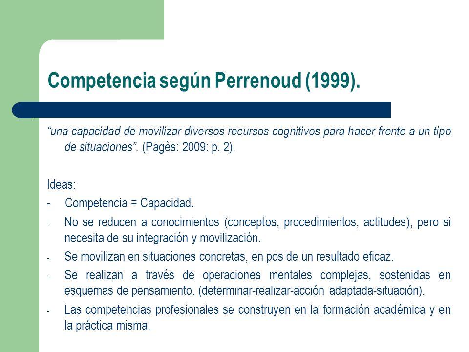 Competencia según Perrenoud (1999). una capacidad de movilizar diversos recursos cognitivos para hacer frente a un tipo de situaciones. (Pagès: 2009: