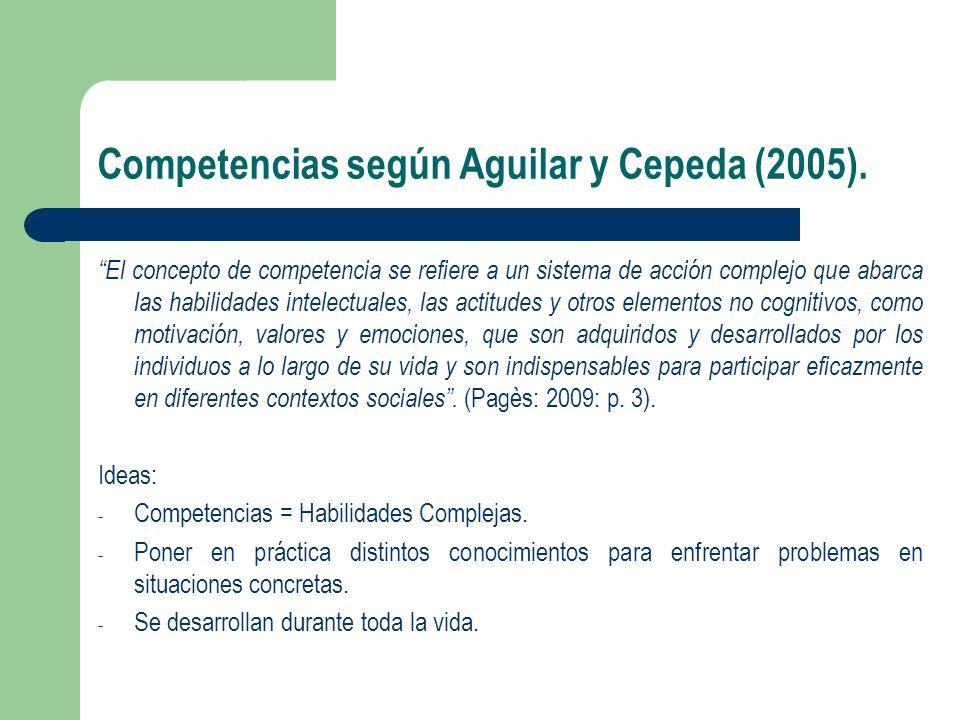Competencias según Aguilar y Cepeda (2005). El concepto de competencia se refiere a un sistema de acción complejo que abarca las habilidades intelectu