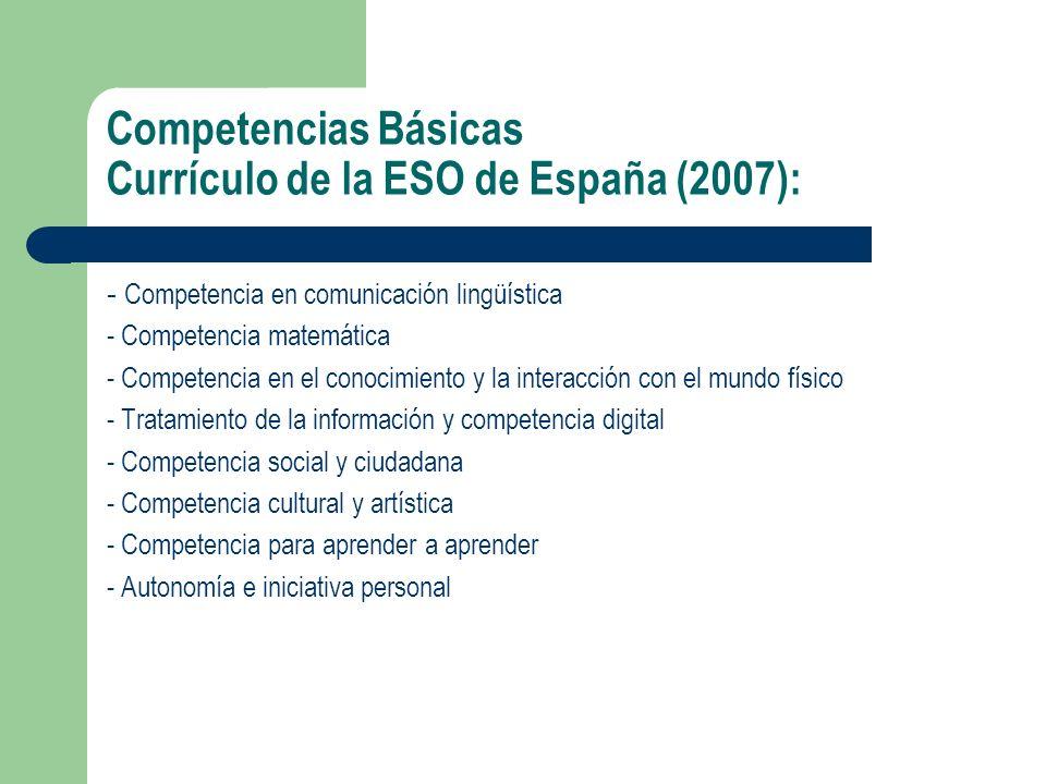 Competencias Básicas Currículo de la ESO de España (2007): - Competencia en comunicación lingüística - Competencia matemática - Competencia en el cono