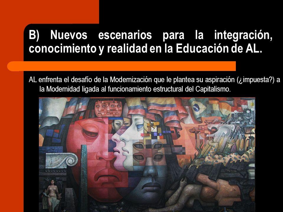 B) Nuevos escenarios para la integración, conocimiento y realidad en la Educación de AL. AL enfrenta el desafío de la Modernización que le plantea su