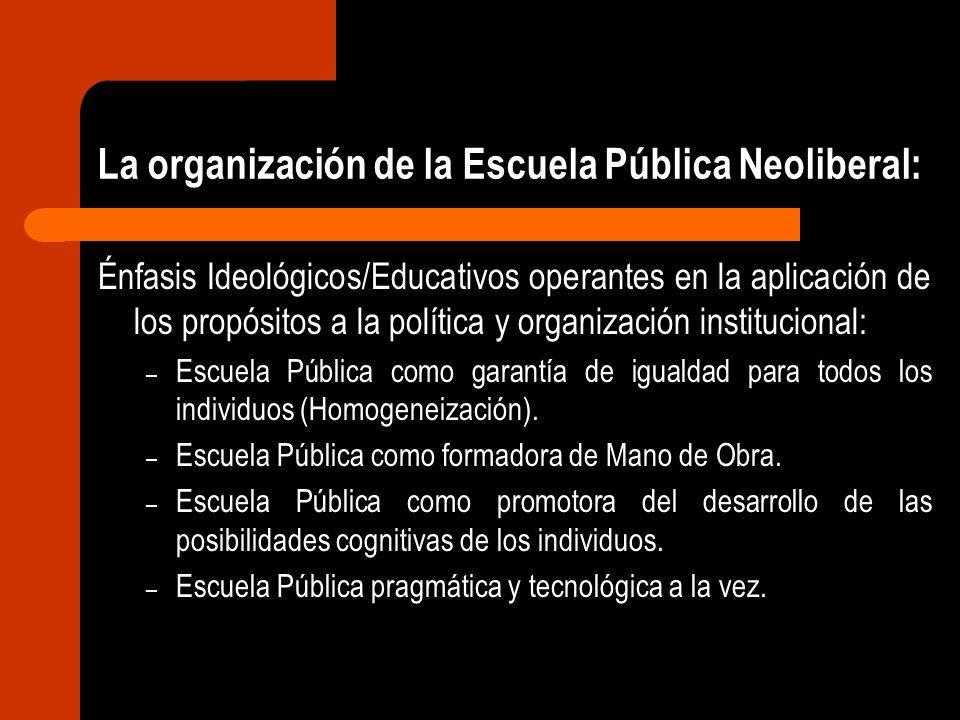 La organización de la Escuela Pública Neoliberal: Énfasis Ideológicos/Educativos operantes en la aplicación de los propósitos a la política y organiza