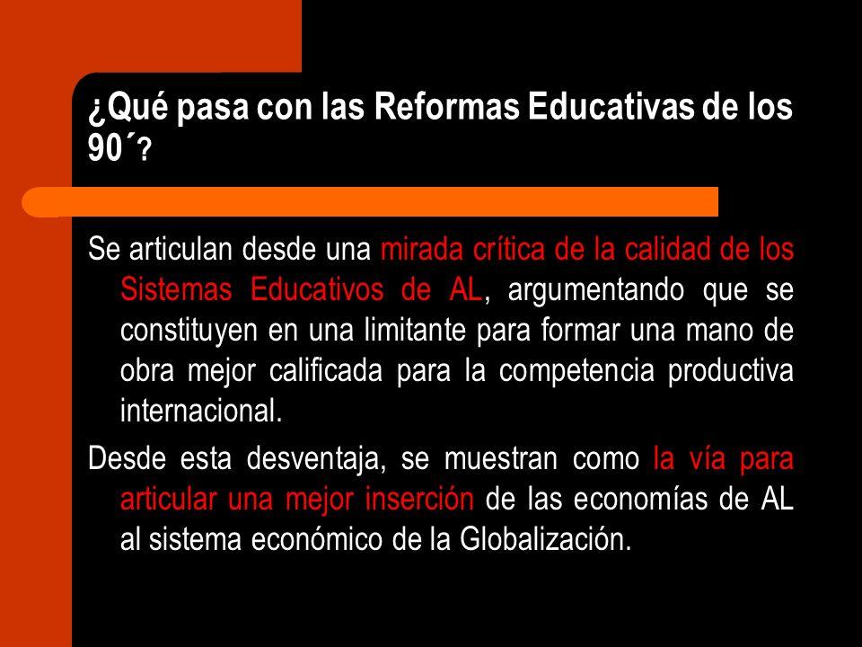 ¿Qué pasa con las Reformas Educativas de los 90´ ? Se articulan desde una mirada crítica de la calidad de los Sistemas Educativos de AL, argumentando