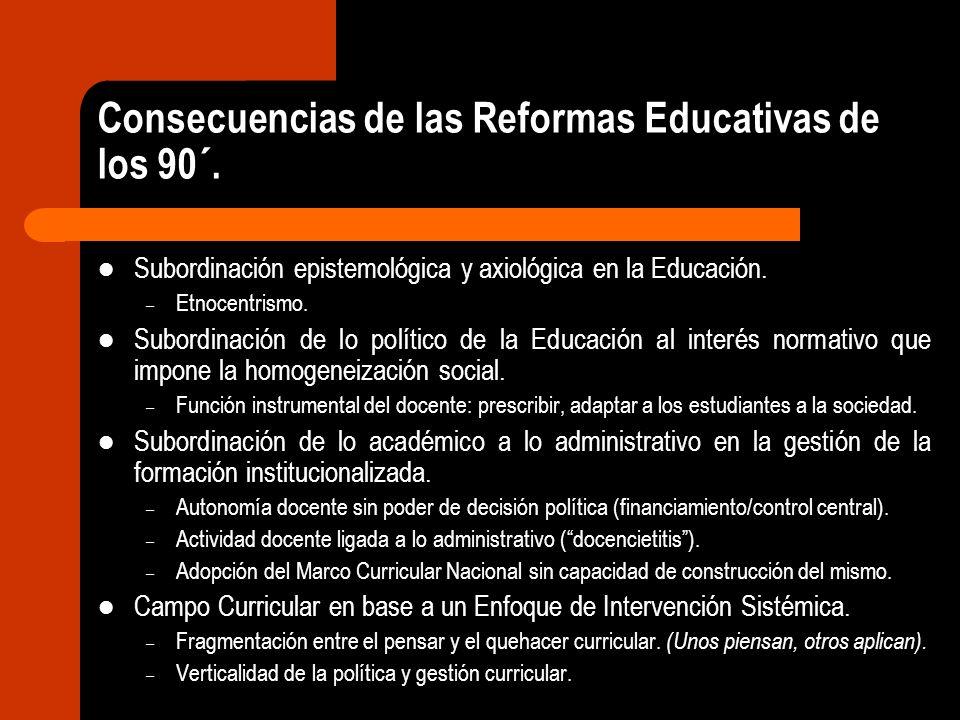 Consecuencias de las Reformas Educativas de los 90´. Subordinación epistemológica y axiológica en la Educación. – Etnocentrismo. Subordinación de lo p