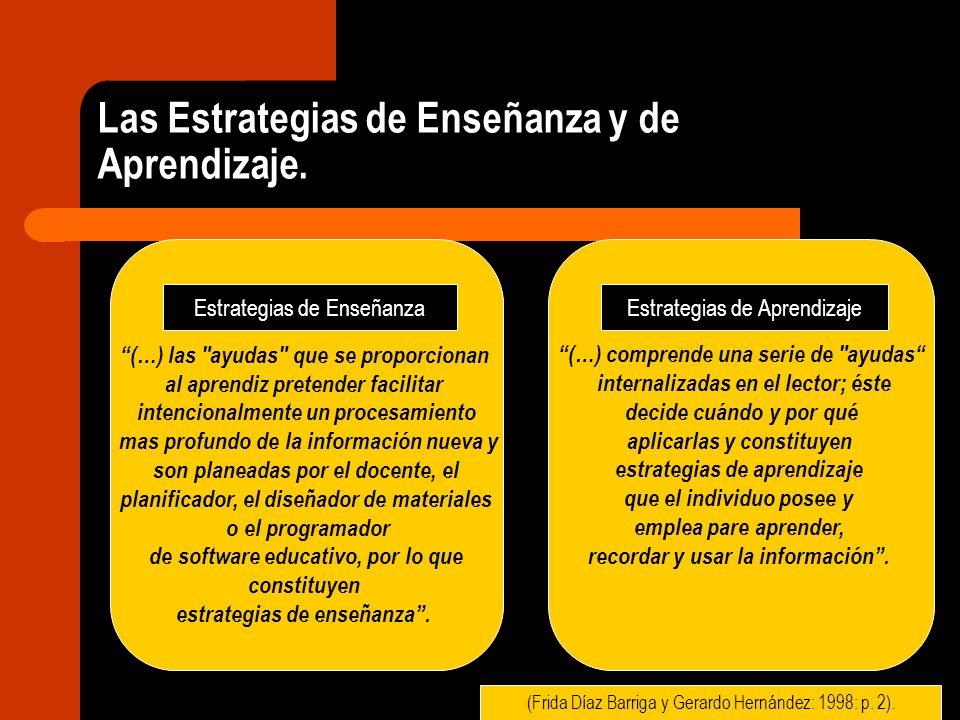 Las Estrategias de Enseñanza y de Aprendizaje. (…) las