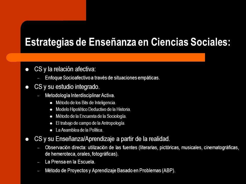 Estrategias de Enseñanza en Ciencias Sociales: CS y la relación afectiva: – Enfoque Socioafectivo a través de situaciones empáticas. CS y su estudio i