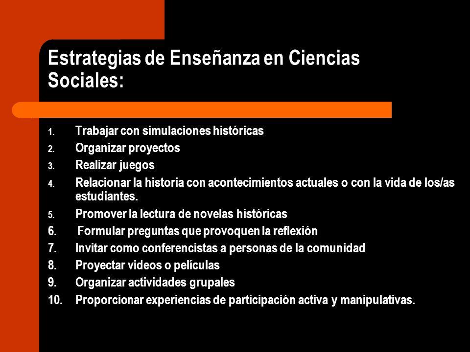 Estrategias de Enseñanza en Ciencias Sociales: 1. Trabajar con simulaciones históricas 2. Organizar proyectos 3. Realizar juegos 4. Relacionar la hist