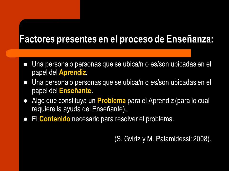 Factores presentes en el proceso de Enseñanza: Una persona o personas que se ubica/n o es/son ubicadas en el papel del Aprendiz. Una persona o persona