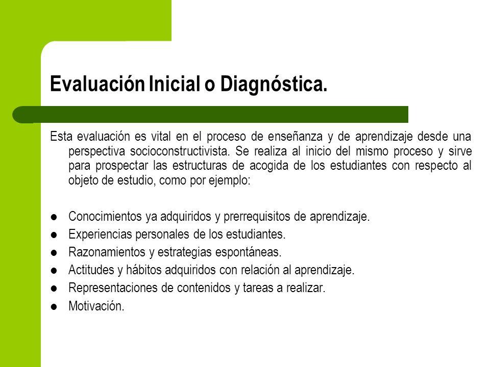 Evaluación Inicial o Diagnóstica. Esta evaluación es vital en el proceso de enseñanza y de aprendizaje desde una perspectiva socioconstructivista. Se
