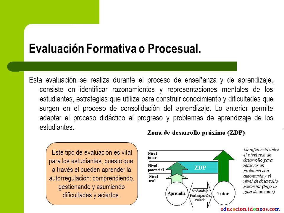 Evaluación Formativa o Procesual. Esta evaluación se realiza durante el proceso de enseñanza y de aprendizaje, consiste en identificar razonamientos y