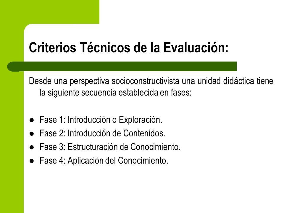 Criterios Técnicos de la Evaluación: Desde una perspectiva socioconstructivista una unidad didáctica tiene la siguiente secuencia establecida en fases