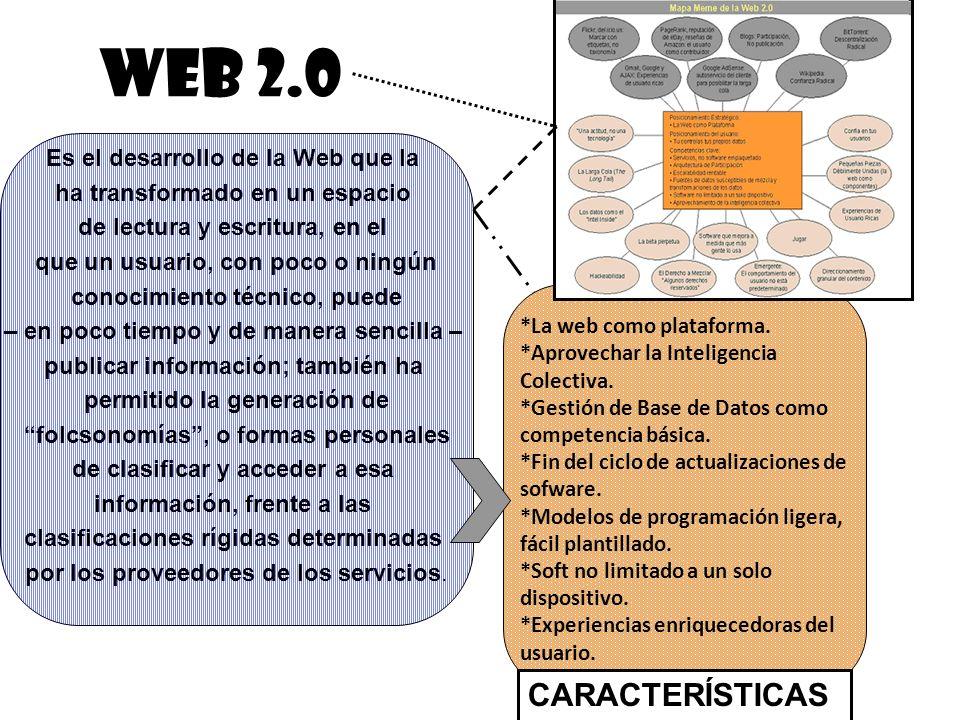 WEB 2.0 Es el desarrollo de la Web que la ha transformado en un espacio de lectura y escritura, en el que un usuario, con poco o ningún conocimiento t