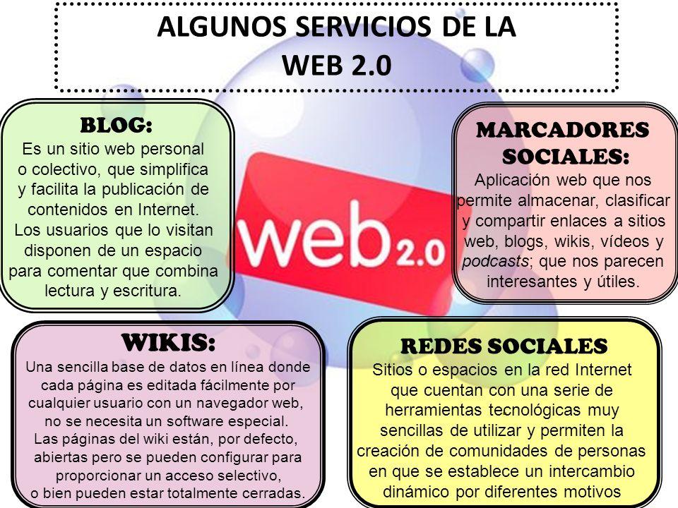 ALGUNOS SERVICIOS DE LA WEB 2.0 BLOG: Es un sitio web personal o colectivo, que simplifica y facilita la publicación de contenidos en Internet. Los us