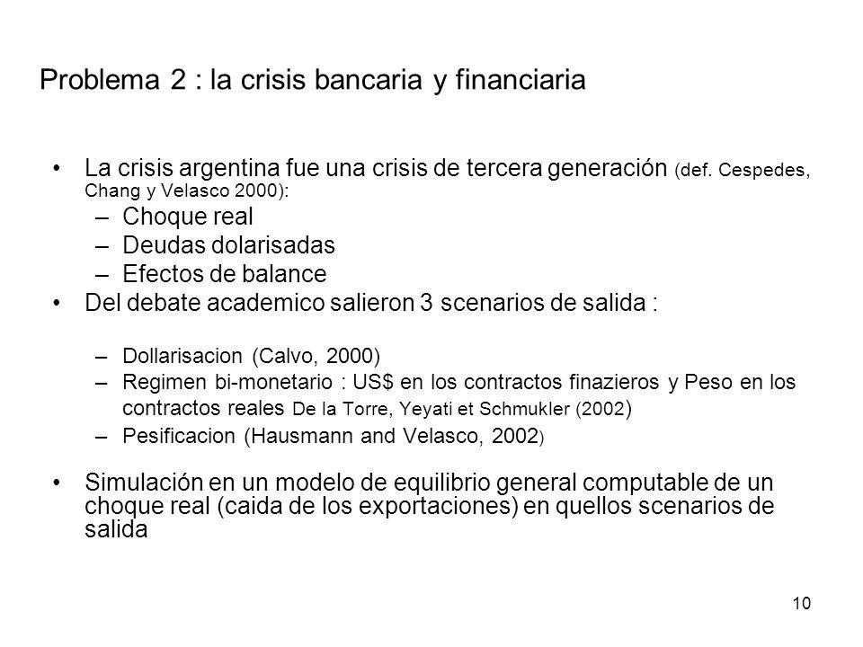 10 Problema 2 : la crisis bancaria y financiaria La crisis argentina fue una crisis de tercera generación (def.