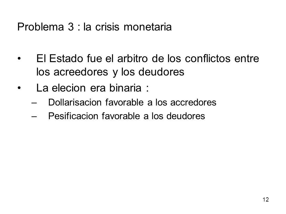 12 Problema 3 : la crisis monetaria El Estado fue el arbitro de los conflictos entre los acreedores y los deudores La elecion era binaria : –Dollarisacion favorable a los accredores –Pesificacion favorable a los deudores