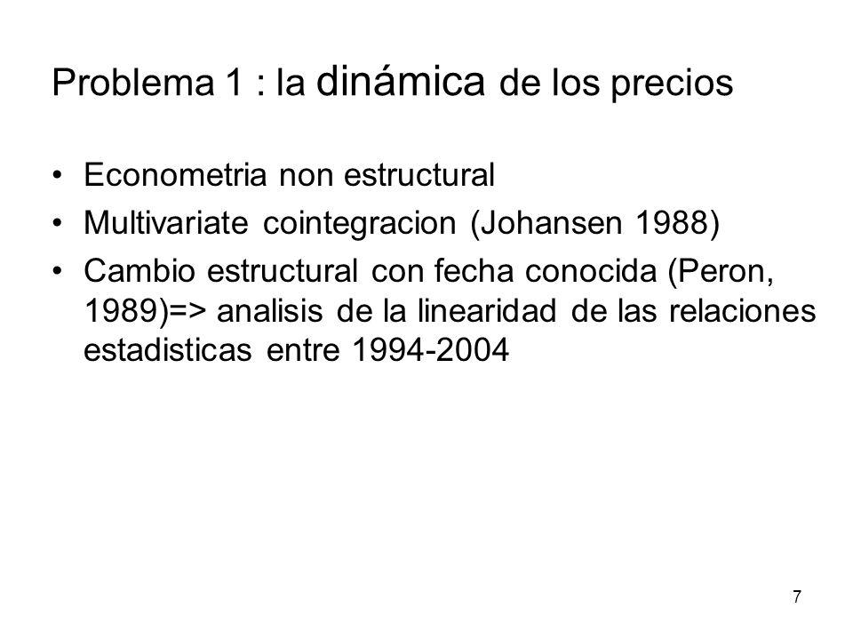 7 Econometria non estructural Multivariate cointegracion (Johansen 1988) Cambio estructural con fecha conocida (Peron, 1989)=> analisis de la linearidad de las relaciones estadisticas entre 1994-2004 Problema 1 : la dinámica de los precios