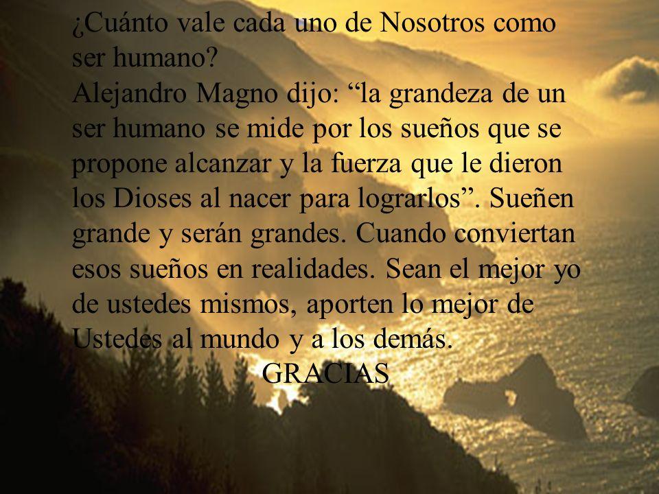 Facultad de Ciencias Administrativas ULADECH 19 William Sánchez Ochoa ¿Cuánto vale cada uno de Nosotros como ser humano? Alejandro Magno dijo: la gran