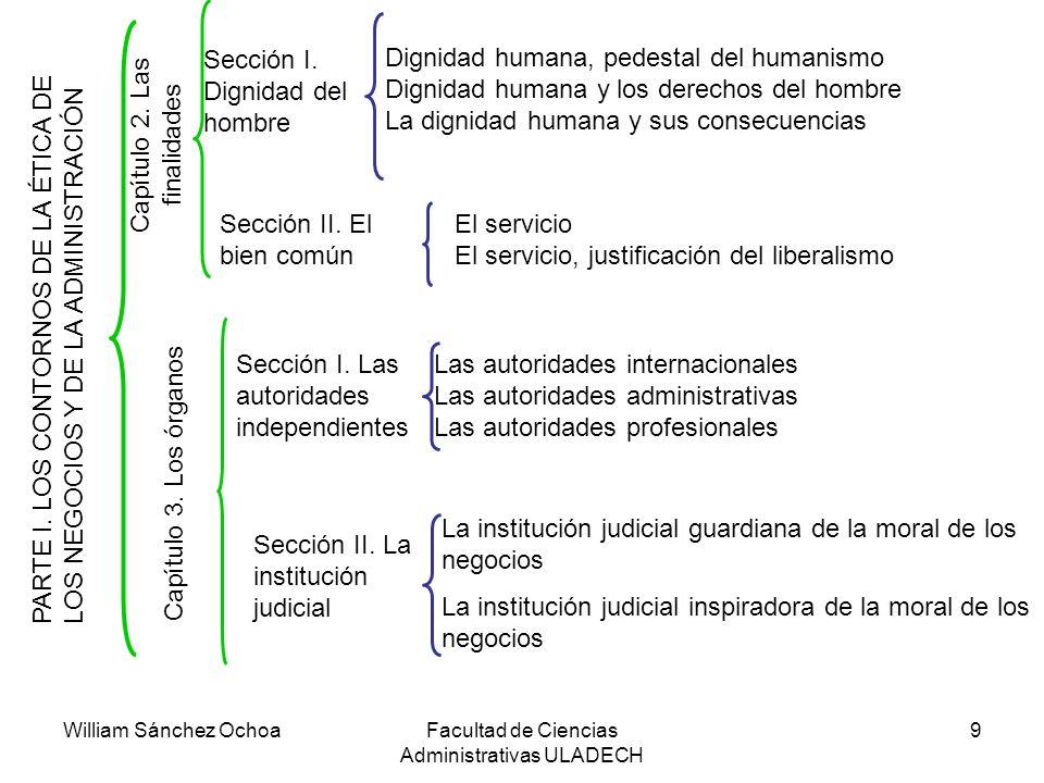 William Sánchez OchoaFacultad de Ciencias Administrativas ULADECH 9 PARTE I. LOS CONTORNOS DE LA ÉTICA DE LOS NEGOCIOS Y DE LA ADMINISTRACIÓN C a p í