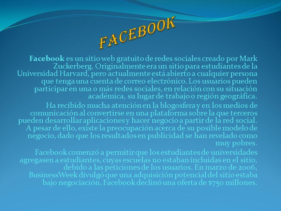 Facebook es un sitio web gratuito de redes sociales creado por Mark Zuckerberg. Originalmente era un sitio para estudiantes de la Universidad Harvard,