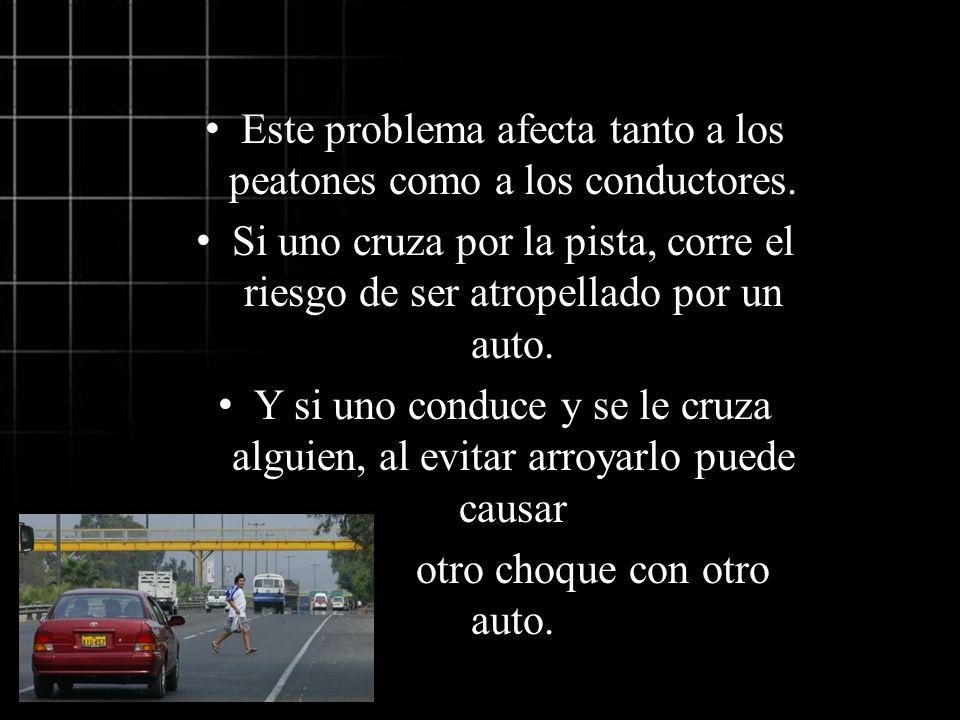 Este problema afecta tanto a los peatones como a los conductores. Si uno cruza por la pista, corre el riesgo de ser atropellado por un auto. Y si uno