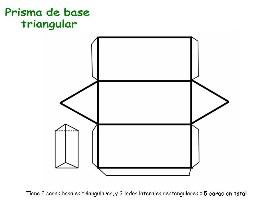Tiene 2 caras basales triangulares, y 3 lados laterales rectangulares = 5 caras en total