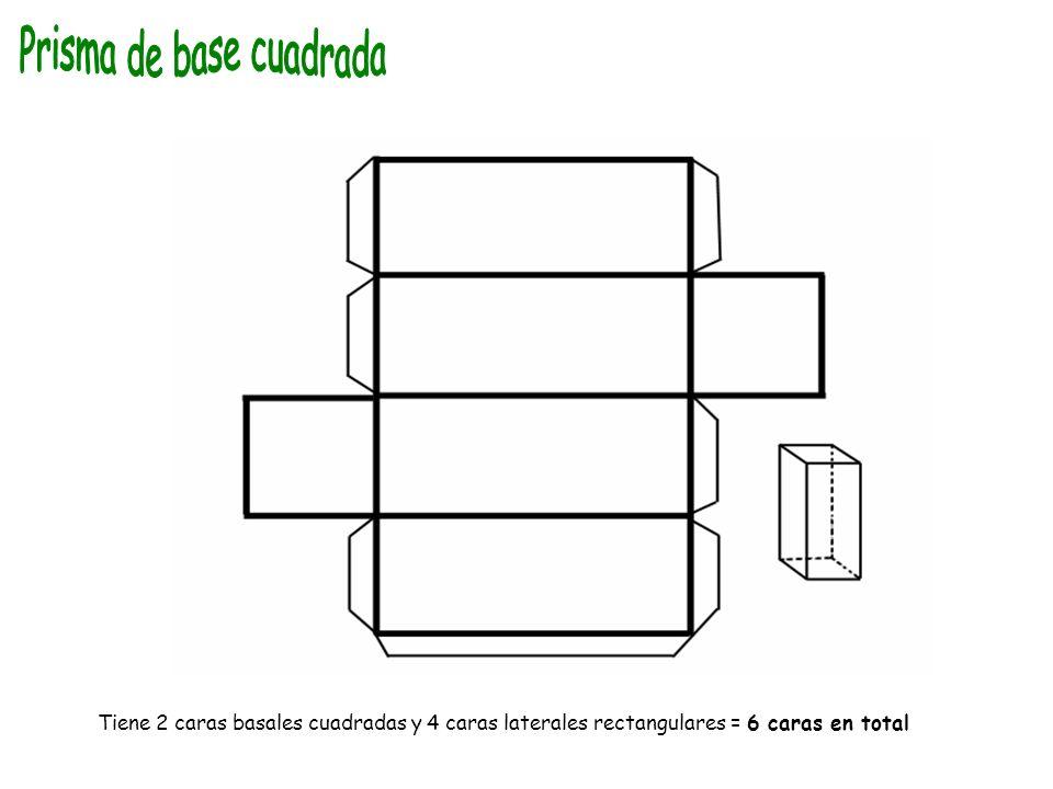 Tiene 2 caras basales cuadradas y 4 caras laterales rectangulares = 6 caras en total