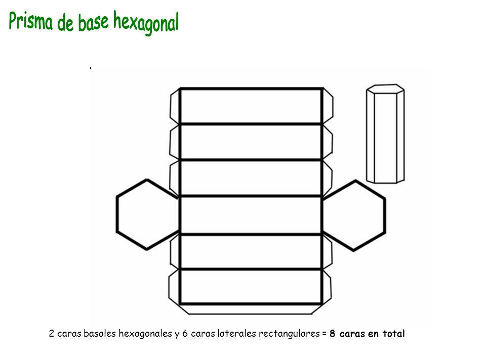 2 caras basales hexagonales y 6 caras laterales rectangulares = 8 caras en total
