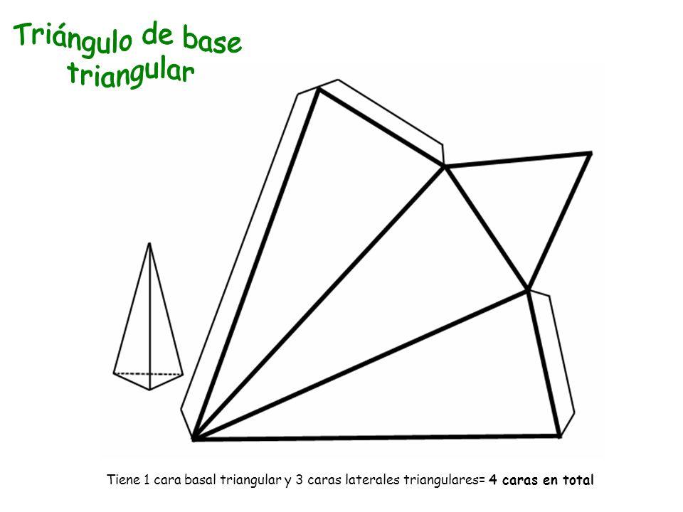 Tiene 1 cara basal triangular y 3 caras laterales triangulares= 4 caras en total