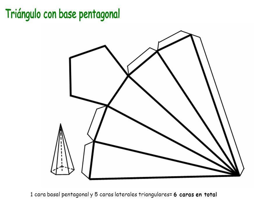 1 cara basal pentagonal y 5 caras laterales triangulares= 6 caras en total