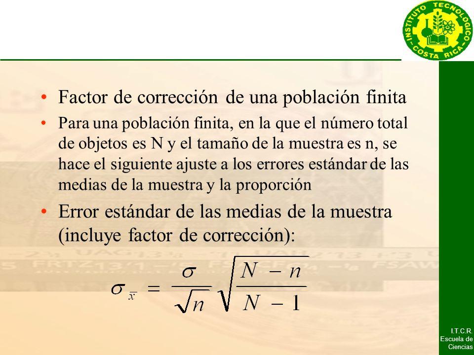 I.T.C.R. Escuela de Ciencias Factor de corrección de una población finita Para una población finita, en la que el número total de objetos es N y el ta