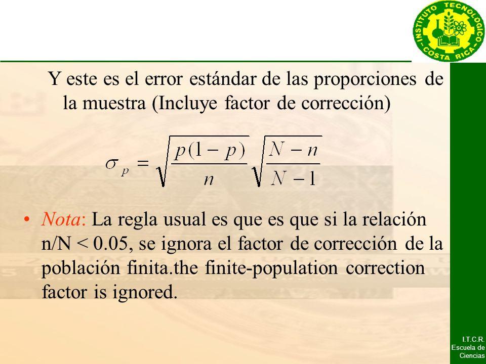 I.T.C.R. Escuela de Ciencias Y este es el error estándar de las proporciones de la muestra (Incluye factor de corrección) Nota: La regla usual es que
