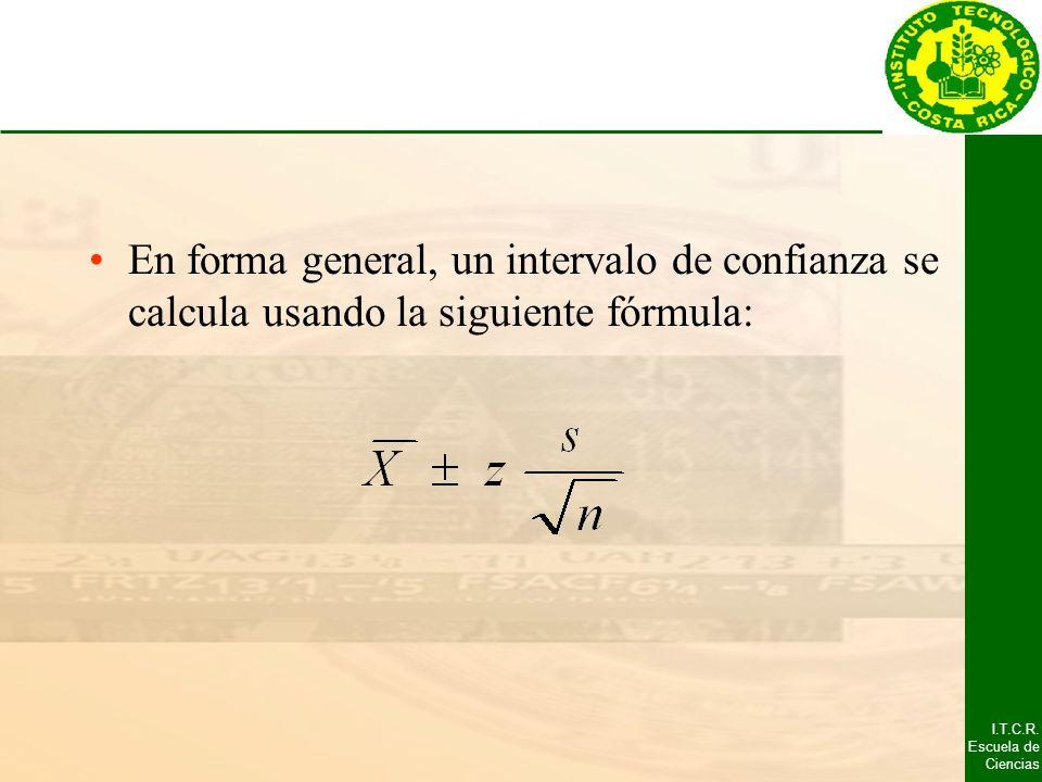 I.T.C.R. Escuela de Ciencias En forma general, un intervalo de confianza se calcula usando la siguiente fórmula: