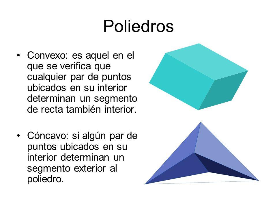 Poliedros Convexo: es aquel en el que se verifica que cualquier par de puntos ubicados en su interior determinan un segmento de recta también interior