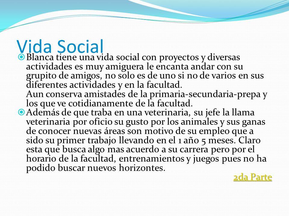 Vida Social Blanca tiene una vida social con proyectos y diversas actividades es muy amiguera le encanta andar con su grupito de amigos, no solo es de