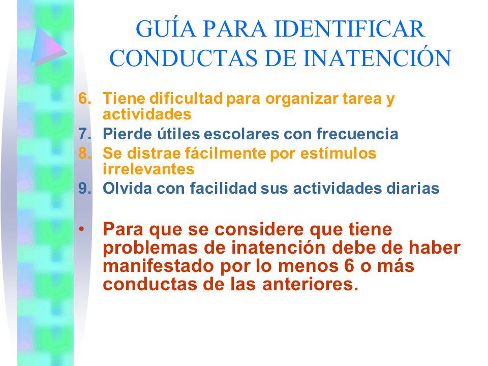 GUÍA PARA IDENTIFICAR CONDUCTAS DE INATENCIÓN 1.No presta atención a los detalles, descuidado en sus tareas escolares y en otras actividades 2.Tiene d