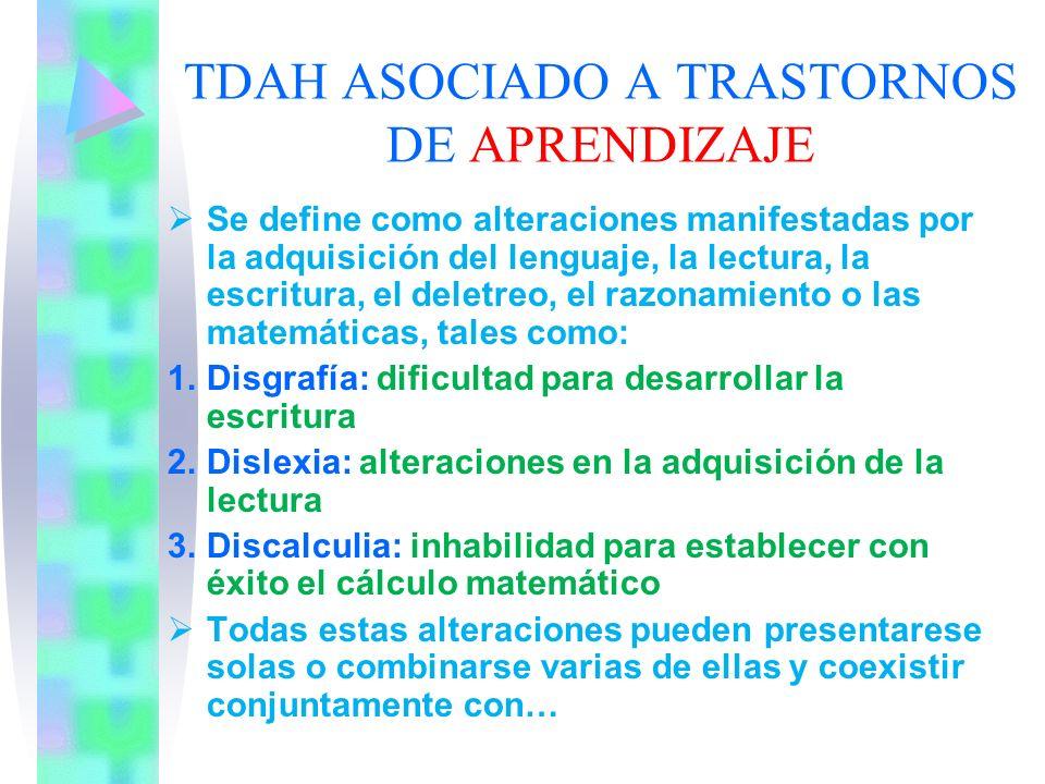 EL TRASTORNO DE DÉFICIT DE ATENCIÓN PUEDE ESTAR ASOCIADO A : 1.TRASTORNOS DE APRENDIZAJE 2.TRASTORNO DE LA COMUNICACIÓN 3.TRASTORNOS DEL COMPORTAMIENT
